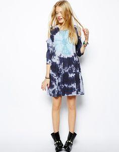 ASOS   ASOS Smock Dress In Tie Dye With Cold Shoulder at ASOS