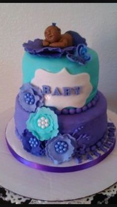 Purple turquoise ( teal ) Baby shower