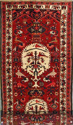 """Bakhtiari Persian Rug, Buy Handmade Bakhtiari Persian Rug 4' 1"""" x 12' 10"""", Authentic Persian Rug"""