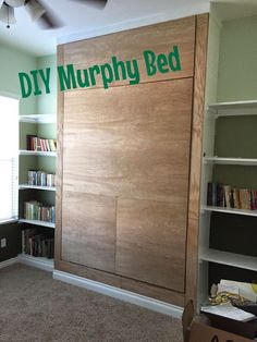 {Junk in their Trunk} DIY Murphy Bed (Wall Bed) Learn how to make your own murphy bed with these st&; {Junk in their Trunk} DIY Murphy Bed (Wall Bed) Learn how to make your own murphy bed with these st&; Cama Murphy, Murphy-bett Ikea, Space Saving Beds, Diy Bett, Modern Murphy Beds, Murphy Bed Plans, Diy Murphy Bed, Office With Murphy Bed, Cheap Murphy Bed