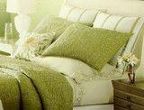 Martha Stewart Veranda Vines Floral Full Queen Duvet Cover Green Yellow