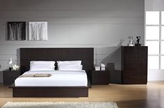 Beverly Hills Anchor Bed - Fashion platform bed with etched diamond motif. Available in Wenge.
