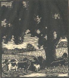 "By Herschel Logan.  ""Lone Elm""    Block print, 1927    4 x 3.5"
