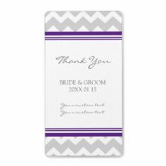 Gray Plum Chevron Wedding Labels