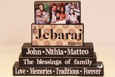 Personalized Name Wood Blocks with Family Picture - Saying, Mothers Day Gift, Family Name Wooden Sign, Stacking Wood Blocks by TimelessNotion on Etsy