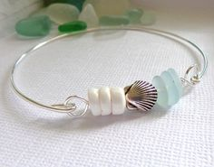 Seaglass Bangle Beach Puka Shell Bracelet by GardenLeafSeaside, $18.00