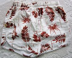 VINTAGE Hawaiian Brown & White TROPICAL Swim Trunks on Etsy, $31.57 AUD