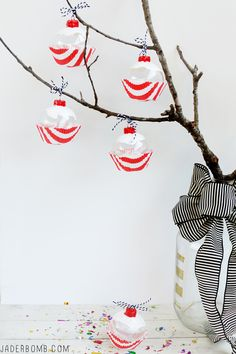Candy Cane Cupcake Christmas Ornaments