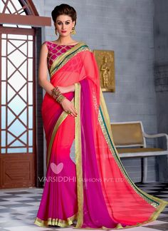 Especial Hot Pink Georgette Designer Saree