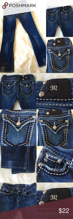 Miss Me Jeans Sz 27 Studs, Rhinestone Thick Stitch Great jeans with a touch of bling here and there!  Some studs & rhinestones are missing-please see photos.  These are still an amazing pair of MISS ME jeans and are priced to sell!  Will be shipping TODAY if purchased in the next hour! Miss Me Jeans
