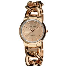 This elegantly stylish gold-tone quartz watch makes a striking addition to any professional outfit or ensemble. Beautifully crafted and featuring a distinctive interlocking-link bracelet, this timepiece makes a welcome addition to any wardrobe.
