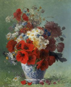 """24/""""x36/"""" ALWAYS /& FOREVER II by REBECCA BURTON FLOWERS IN VASE with SHADOW CANVAS"""
