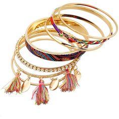 Rhinestone Tassel Ethnic Bracelets Golden (€4,10) ❤ liked on Polyvore featuring jewelry, bracelets, golden bangles, golden jewellery, tassel jewelry, rhinestone bangles and golden jewelry