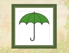 Green Umbrella Instant Download Cross Stitch Pattern | Etsy Simple Flower Design, Simple Flowers, Flower Designs, Cactus Cross Stitch, Purple Succulents, Red Umbrella, Dmc Floss, Cross Stitch Patterns, Minimalist Design