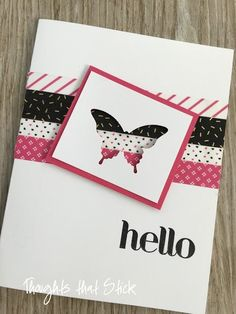 I know you just can't wait for the new catalog to come out so you can order this fun set of washi tape called Pop of PinkThis card is so fun and easy to make. Cut your base card and add three to four