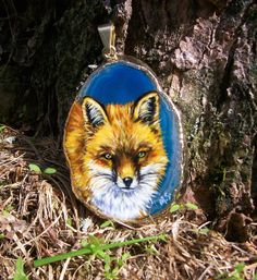 Red Fox Wildlife Original Oil Painting on agate by EquineTreasures, $25.00