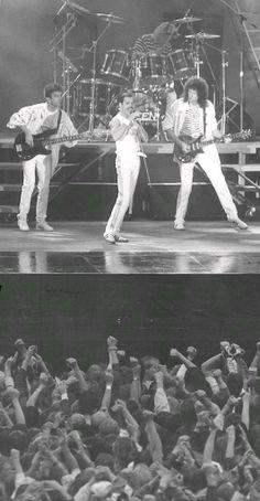 Queen performing in 1986. Freddie Mercury's last tour