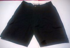 Dickies Solid Black Polyester Blend Flat Front Casual Cargo Shorts Sz 32 #Dickies #Cargo