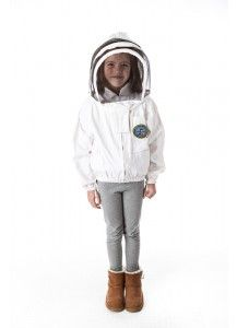 Front Open Bee Jacket--available with a fencing or round hood in sizes T6, YXS, YS or YL.  Front open bee jacket is a great starting piece fo the young beekeeper.  Made of 100% cotton.