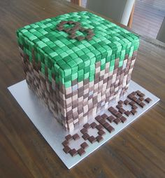 Excel designed Minecraft cake