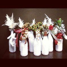 Wine bottle Christmas decor for Primrose & Tumbleweeds