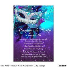 Teal Purple Feather Mask Masquerade Invitation by zizzago.com