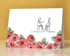 I first stamped the flowers from the Painted Flowers set to create the impression of a Rose Garden foreground.