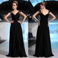 Beautiful Black Evening Military Ball Gown Bridesmaid Pageant Dresses Women SKU-122410