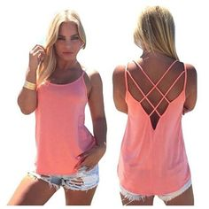 Women's Casual Loose Criss Cross Tank Tops ($6.99) ❤ liked on Polyvore featuring tops, pink, tops & tees, crisscross top, loose tank, loose fitting tanks, loose fitting tank tops and loose fitted tank tops