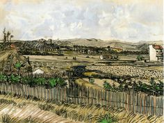Harvest in Provence, at the Left Montmajour by Vincent van Gogh