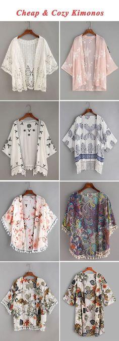 Cheap & cozy kimonos kimonos fashion, fashion outfits, diy c Kimono Fashion, Hijab Fashion, Diy Fashion, Fashion Dresses, Womens Fashion, Cheap Fashion, Fashion Sewing, Fashion Ideas, Fashion Inspiration