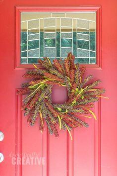 Make this simple DIY Berry wreath for Fall #fallwreath #falldecor #frontdoor #domesticallycreative Diy Wreath, Grapevine Wreath, Wreath Ideas, Fall Wreaths, Christmas Wreaths, Indoor Wreath, Berry Wreath, Purple Hues, Fall Diy