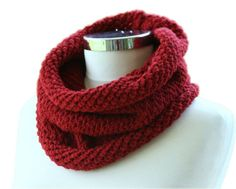 Knit Neck Warmer Scarf Diagonal and Folded in Burgundy - Cowl - Snood - Winter Fashion - Women Teens Accessories