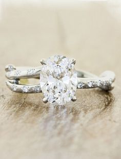 Rustic Engagement Rings Mean A Silver Band Thats Twisted To Evoke Tree Branches If You Think This Oval Diamond Is Pretty Youve Gotta Click And See The
