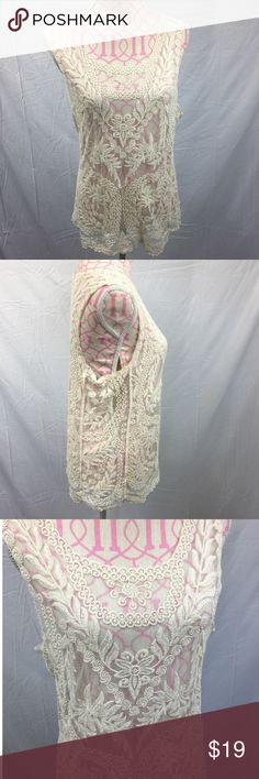 Express Lace Top Size Large Express white lace top. Excellent condition. Bust approximately 38 inches. Length approximately 25 inches. 100% nylon Express Tops Camisoles