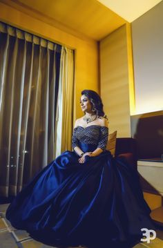 Indo Western Gown - Blue Off Shoulder Gown with Sequinned Boddice Indian Wedding Gowns, Western Wedding Dresses, Indian Gowns Dresses, Indian Bridal, Evening Dresses, Engagement Dress For Bride, Engagement Gowns, Gown Party Wear, Party Gowns