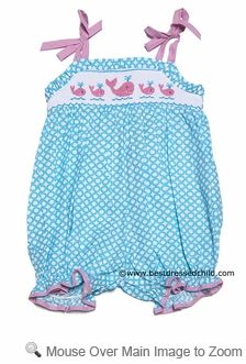 Claire & Charlie Infant / Toddler Girls Turquoise Smocked Pink Whales Bubble with Ties