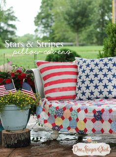 Stars and Stripes Pillow Covers- the perfect patriotic touch! OneKriegerChick.com
