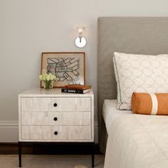 beautiful bedside dresser - bone overlay with black pulls
