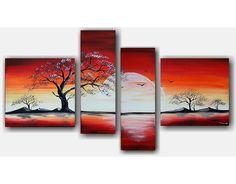 ABSTRACTE SCHILDERIJEN OP CANVAS- Een geweldig vierluik met rode en witte kleuren