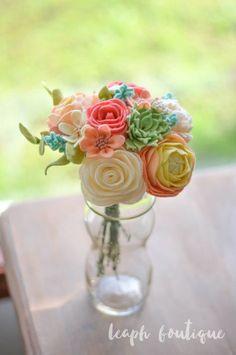 Rose, Peony, Ranunculus, Succulent, & Wildflower Bouquet / Handmade Felt Flowers