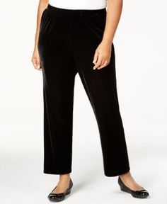 Alfred Dunner Deck the Halls Collection Plus Size Velvet Pull-On Pants - Black 24WS