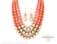 Coral Pearl Bridal Necklace Earrings, Vintage Style Wedding Jewelry Set, Multi Strand Pearl Necklace, Chunky Statement Necklace