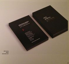 Portrait layout looks different on a business card. Different from the most used landscape layout. The white on black adds extra detail although legibility could be a problem when type point size becomes too small as the ink can smudge.