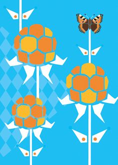 Postcard illustration cloudberry and butterfly #folklore #butterfly