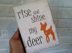 Rise and Shine Woodblock, Children's Art  Woodblock, Deer Nursery Art, Kids Art and Decor, Art Block, 5x7 woodblock, Woodland Nursery Print