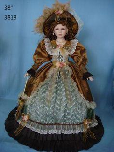 38 Inch Umbrella Dolls Porcelain Doll Victorian Style Purple