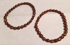 "New Honora Keshi Pearls 2 Stretch Bracelets Large Fits 8"" Bronze | eBay"