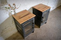 Reclaimed Wood and Recycled Steel End Cabinet by RecycledBrooklyn on Etsy https://www.etsy.com/listing/232278590/reclaimed-wood-and-recycled-steel-end