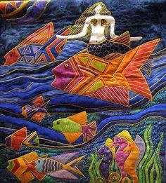 Laurel Burch mermaid quilted